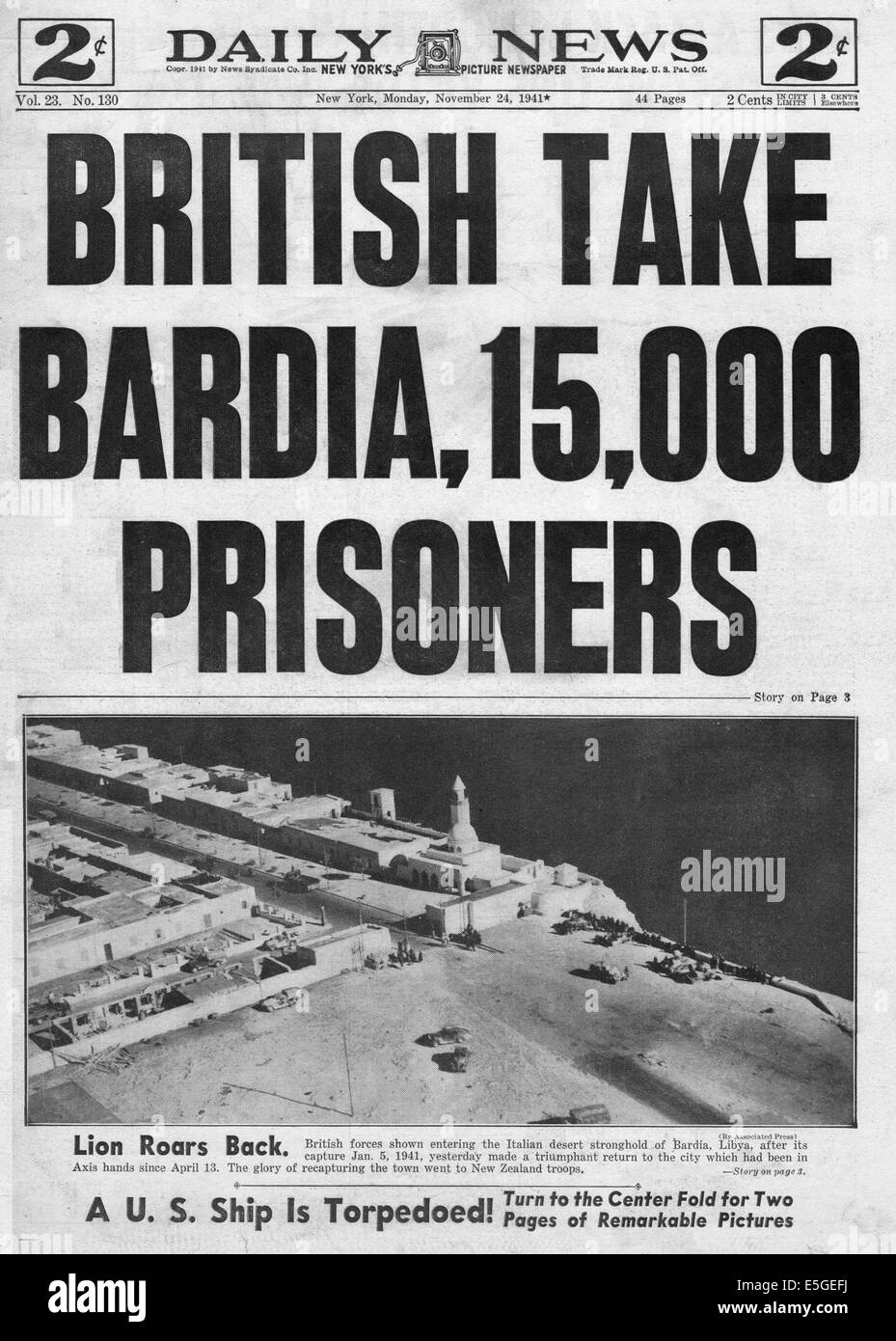 1941 Daily News (New York) front page reporting British Army Take Bardia - Stock Image