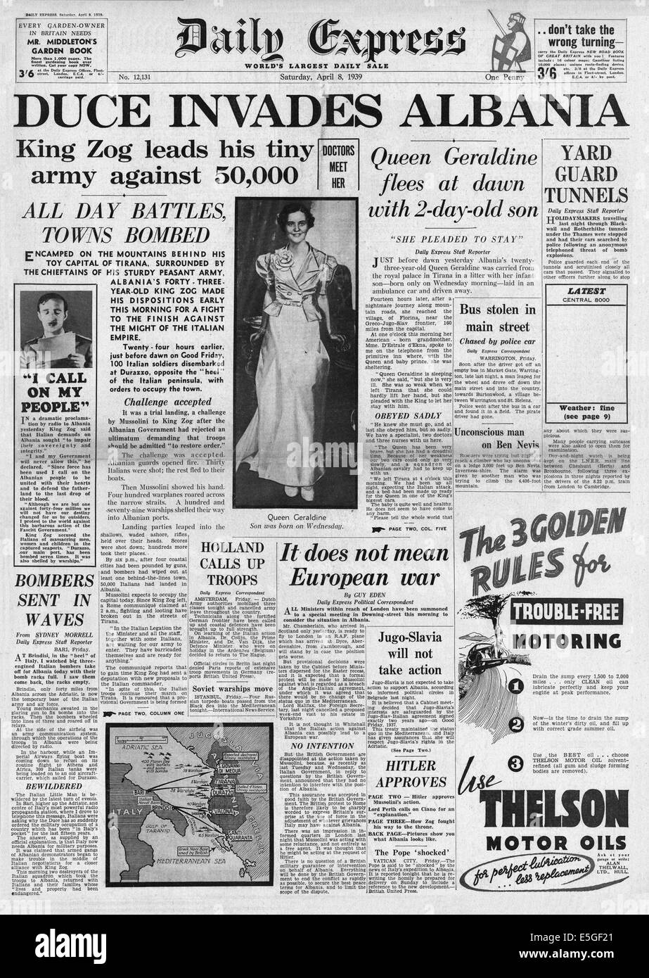 1939 Daily Express front page reporting Italian forces of Benito Mussolini invade Albania - Stock Image