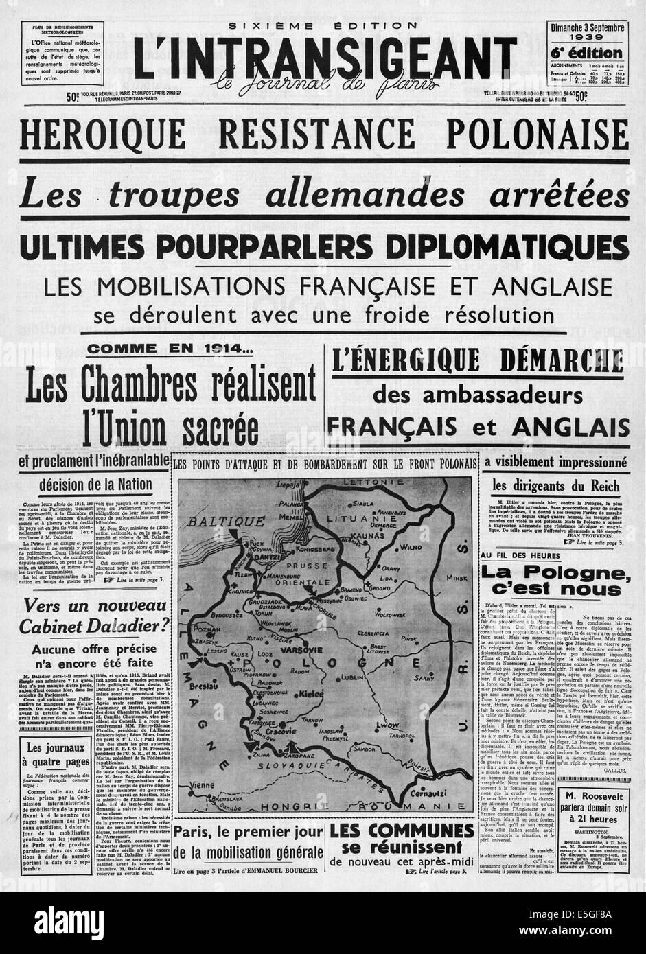 1939 L'intransigeant (France) front page reporting Polish resistance to German invasion Stock Photo