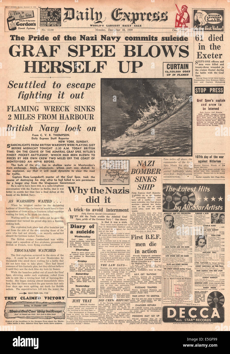 1939 Daily Express front page reporting German pocket battleship Admiral Graf Spee scuttled Stock Photo