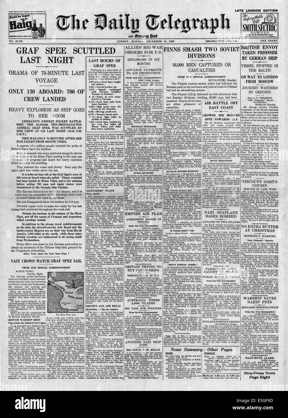 1939 Daily Telegraph front page reporting German pocket battleship Admiral Graf Spee scuttled Stock Photo