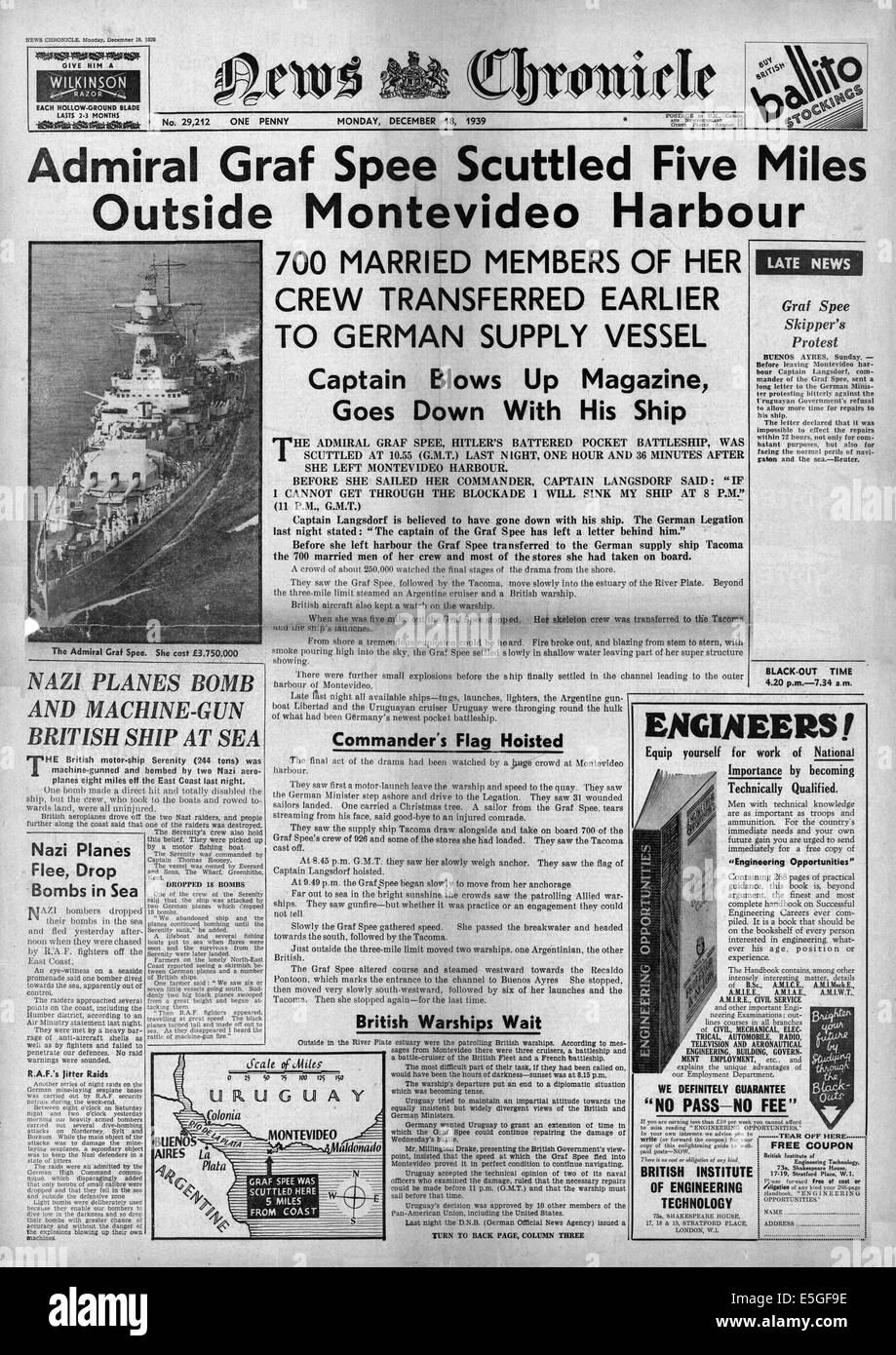 1939 News Chronicle front page reporting German pocket battleship Admiral Graf Spee scuttled Stock Photo