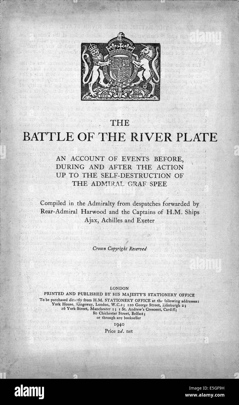 1940 UK Government report on Battle of the River Plate Stock Photo