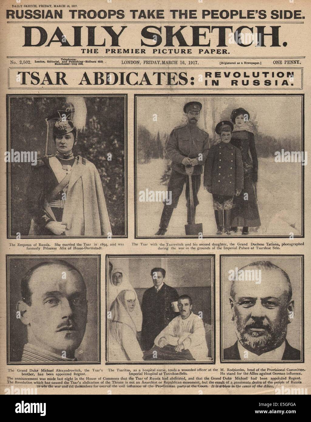 1917 Daily Sketch front page reporting Russian Revolution and Abdication of Czar Nicholas II - Stock Image