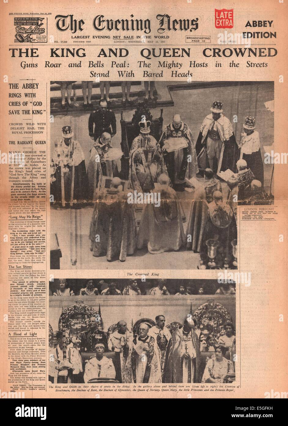 1937 The Evening News front page reporting coronation of