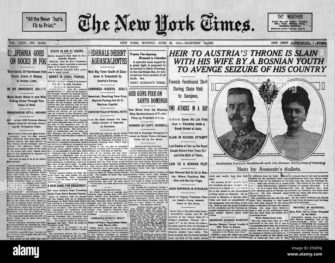 1914 The New York Times front page reporting Assassination of Archduke Franz Ferdinand of Austro-Hungary by Bosnian - Stock Image