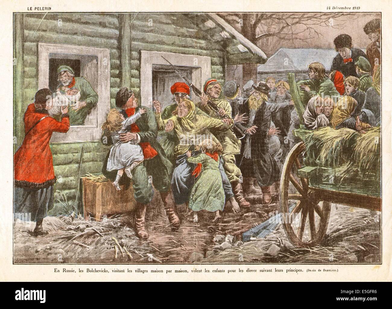 1919 La Pelerin (French) page  illustration Russian civil unrest in Russia - Stock Image
