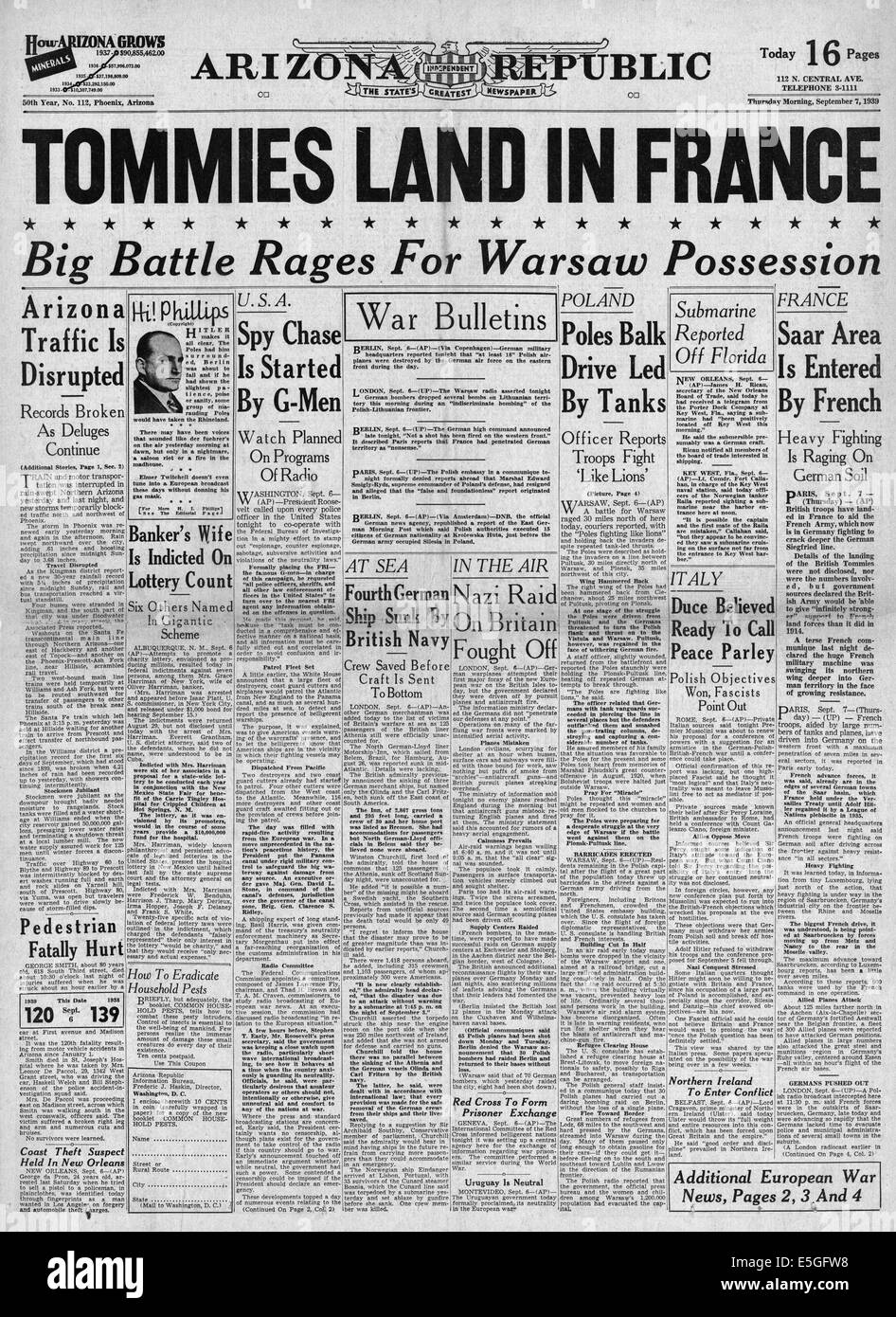 1939 Arizona Republicfront page reporting British troops land in France to help the French Army - Stock Image