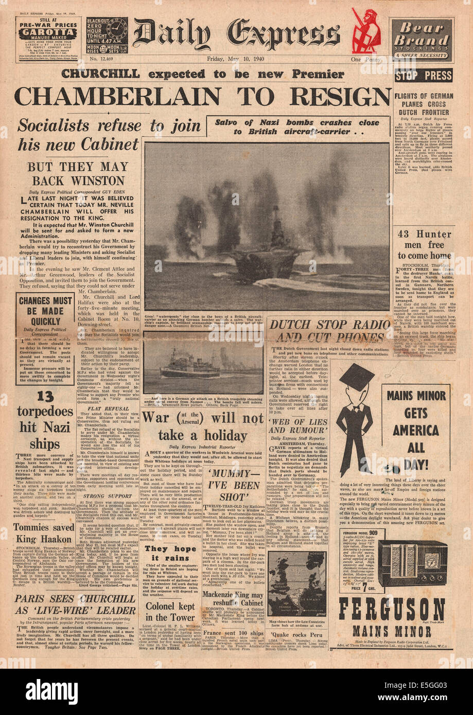 1940 Daily Express front page reporting Neville Chamberlain