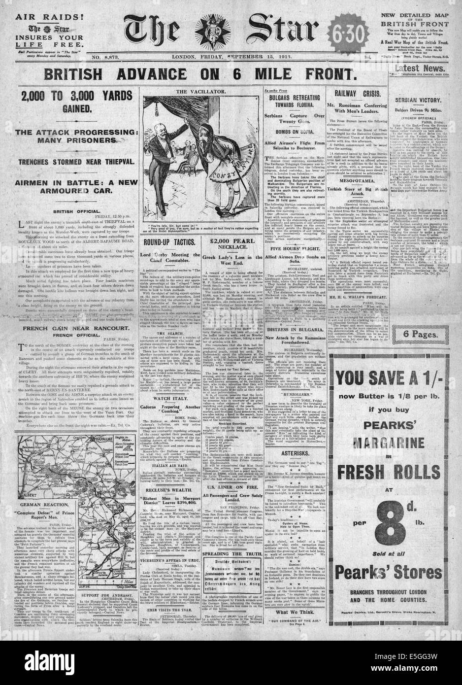 1916 The Star (London) front page reporting the British Army advance during the Battle of the Somme - Stock Image