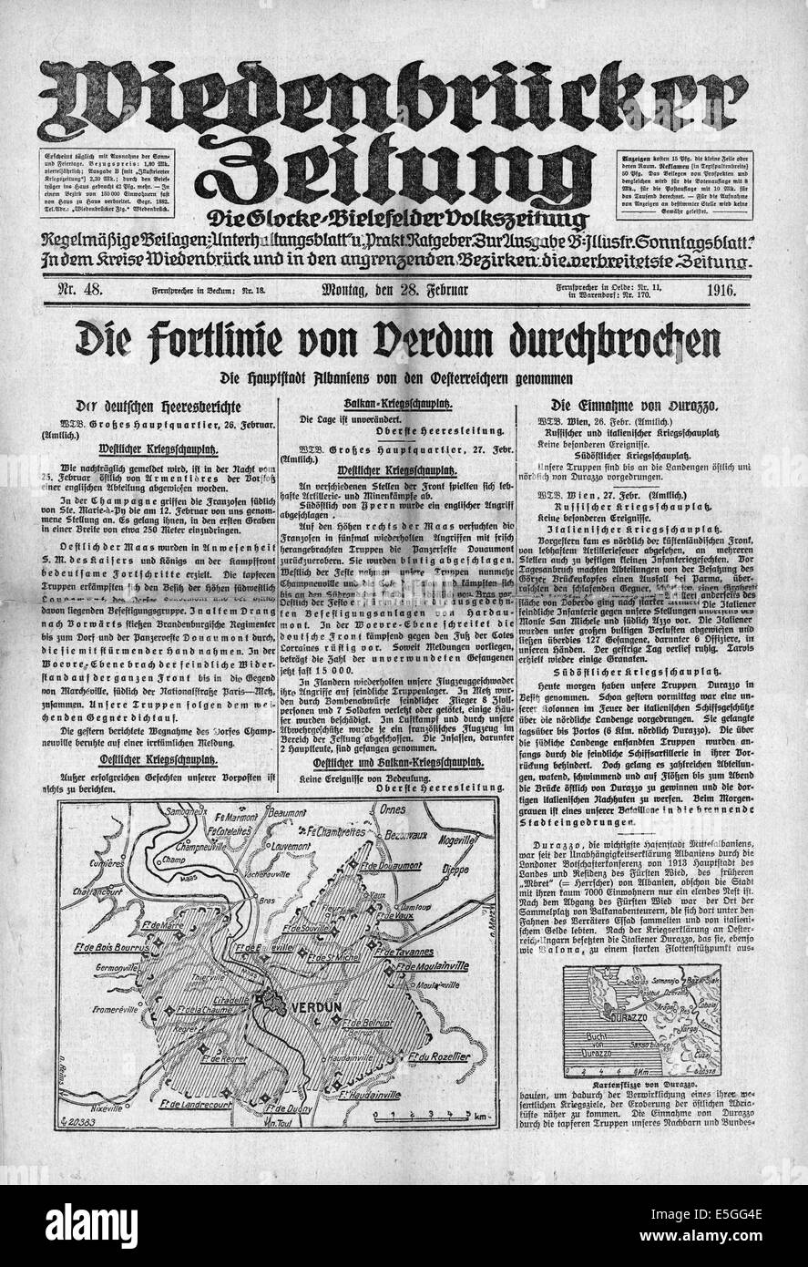 Wiedenbrucke Zeitung (Germany) front page reporting battle of Verdun between the German and French armies - Stock Image