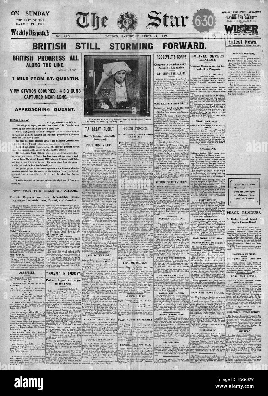 1917 The Star (London) front page reporting British advance along the Western Front - Stock Image