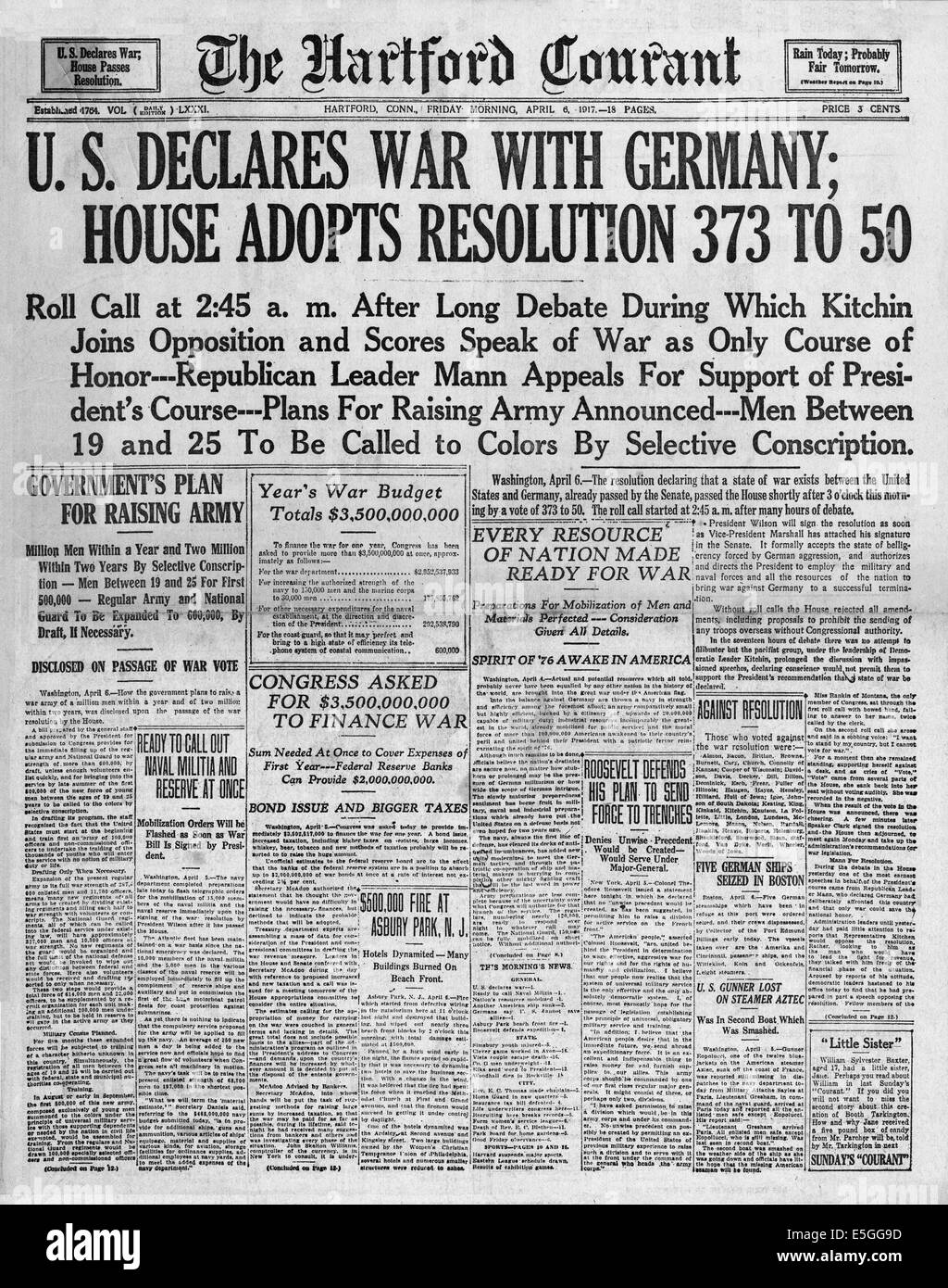 1917 The Hartford Courant (USA) front page reporting the
