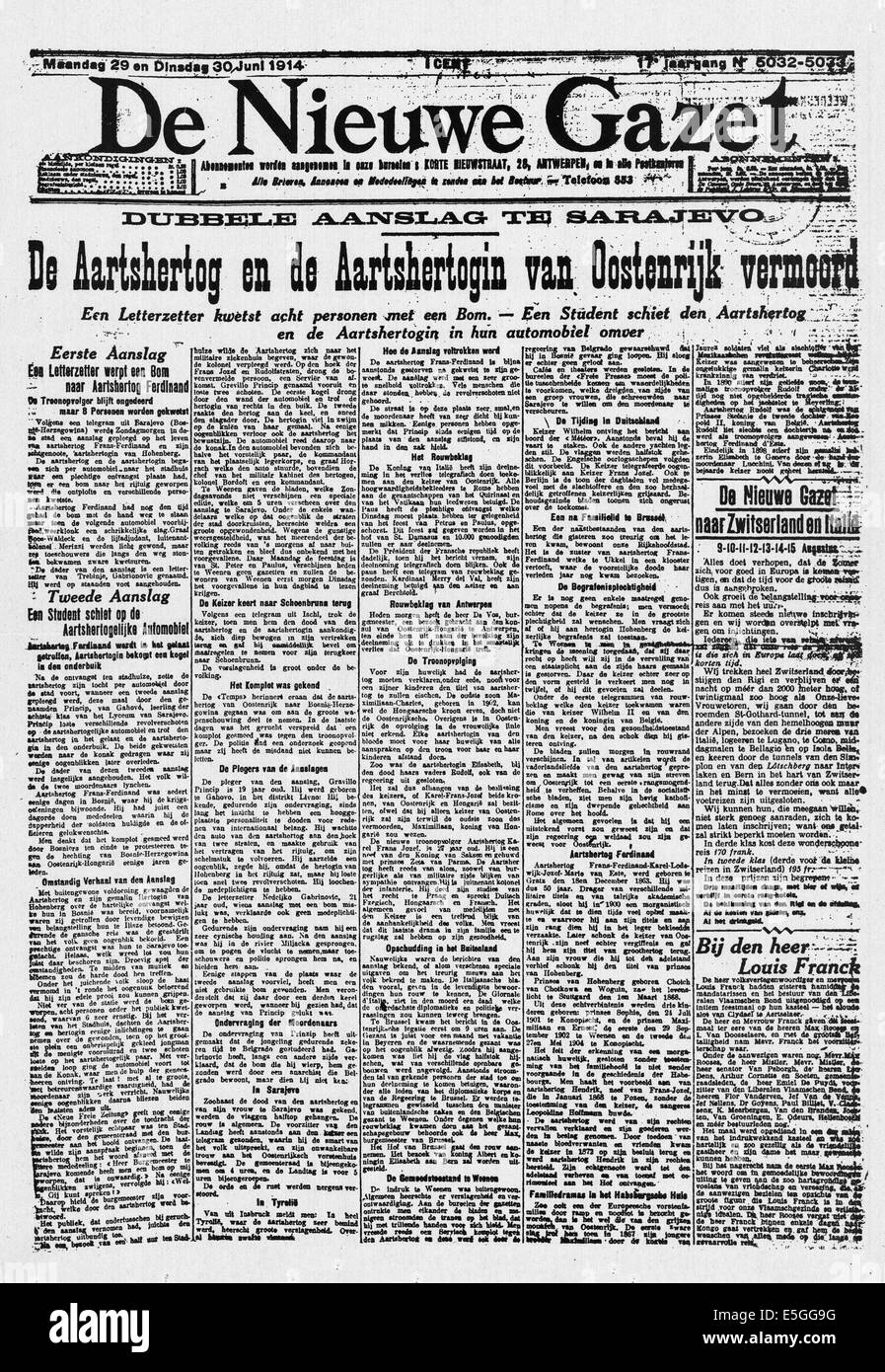 1914 De Nieuwe Gazet front page reporting the Assassination of Archduke Franz Ferdinand of Austro-Hungary by Bosnian - Stock Image