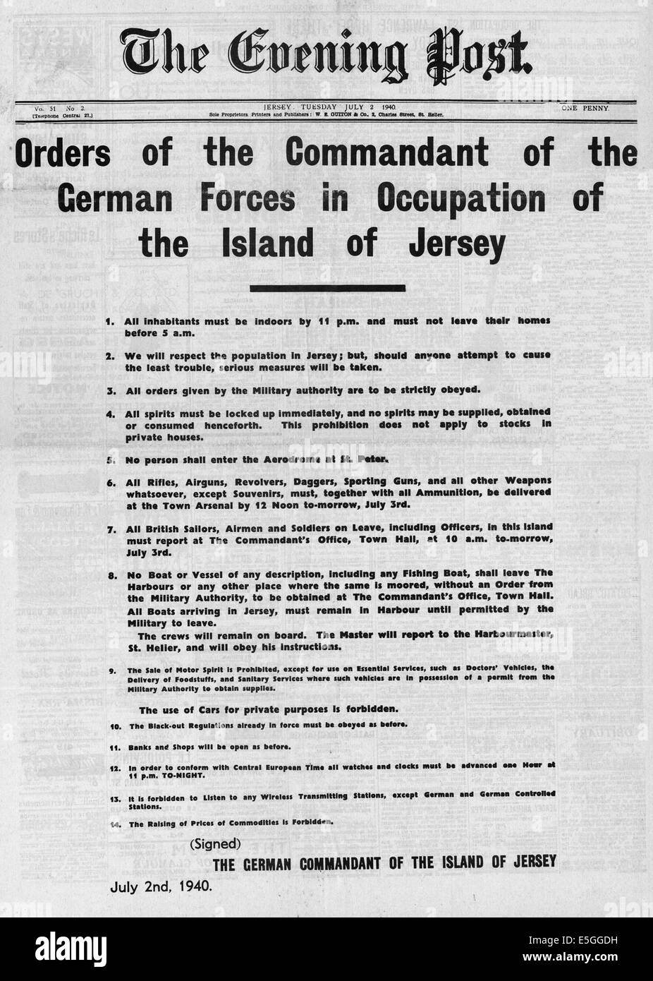 1940 poster with list of orders for citizens of the island of Jersey made by Commandant of the German Forces in - Stock Image