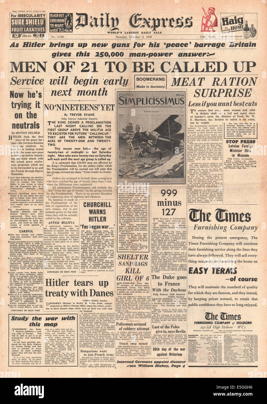 1939 Daily Express front page reporting military call-up for 21 year-olds by royal proclamation - Stock Image