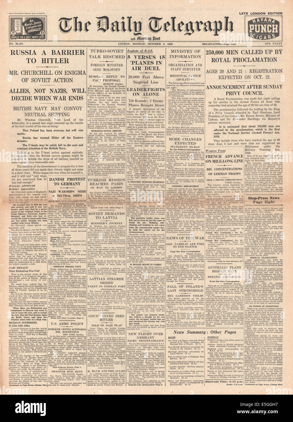 1939 Daily Telegraph front page reporting military call-up for 21 year-olds by royal proclamation - Stock Image