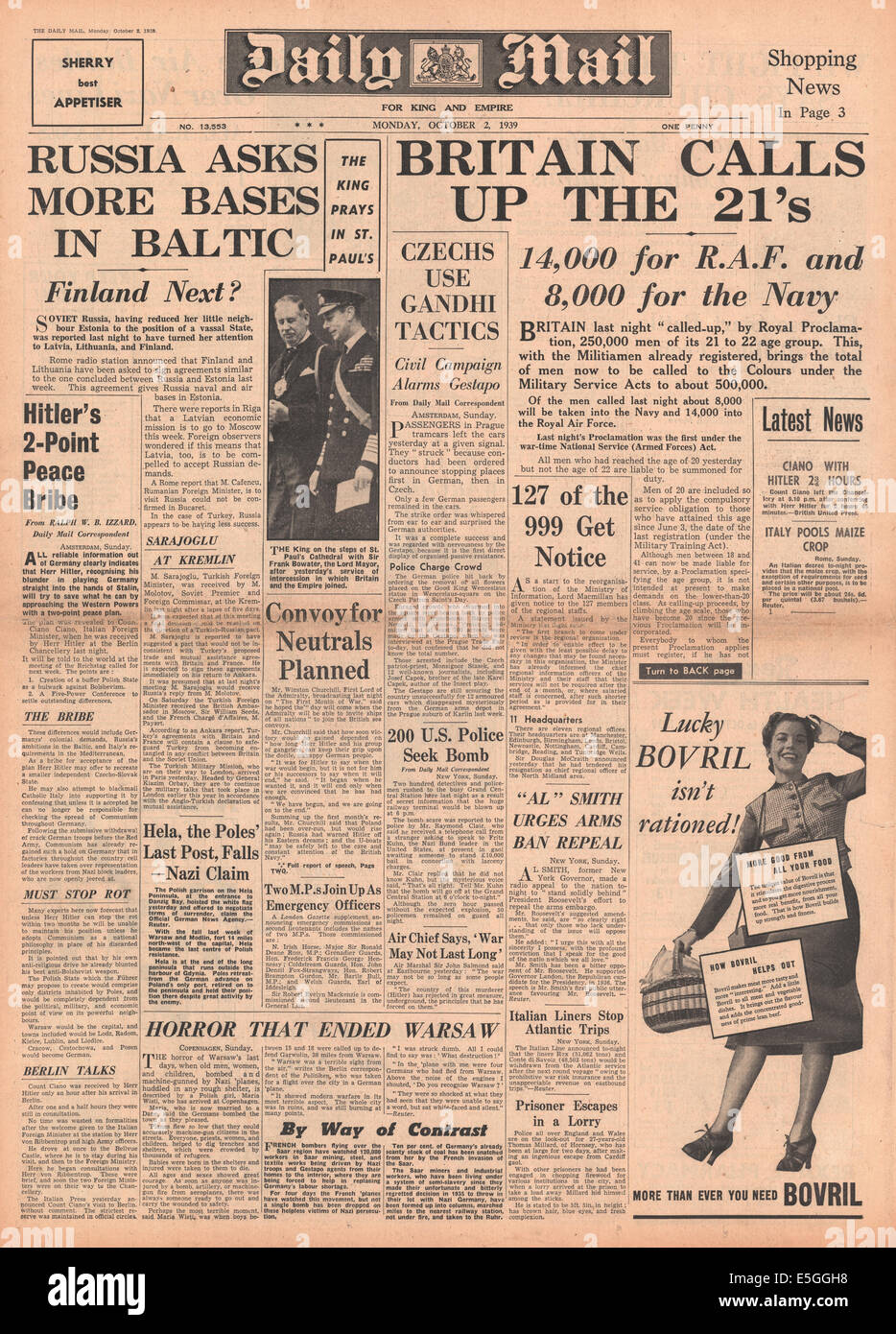 1939 Daily Mail front page reporting military call-up for 21 year-olds by royal proclamation - Stock Image
