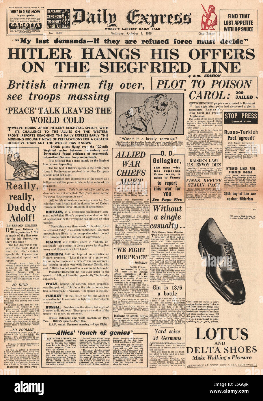1939 Daily Express front page reporting world powers snub Hitler's peace plan - Stock Image