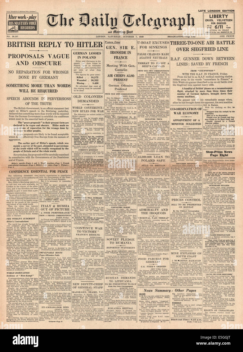 1939 Daily Telegraph front page reporting world powers snub Hitler's peace plan - Stock Image