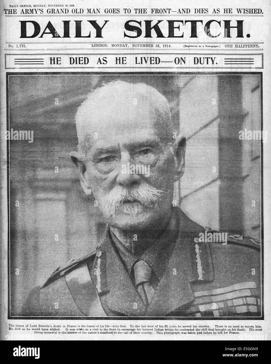 1914 Daily Sketch front page reporting Death of Lord Roberts - Stock Image