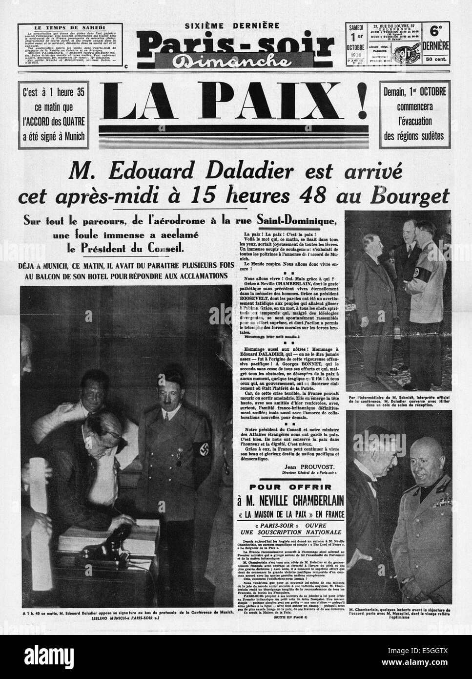 1938 Paris Soir France Front Page Reporting The Signing Of The