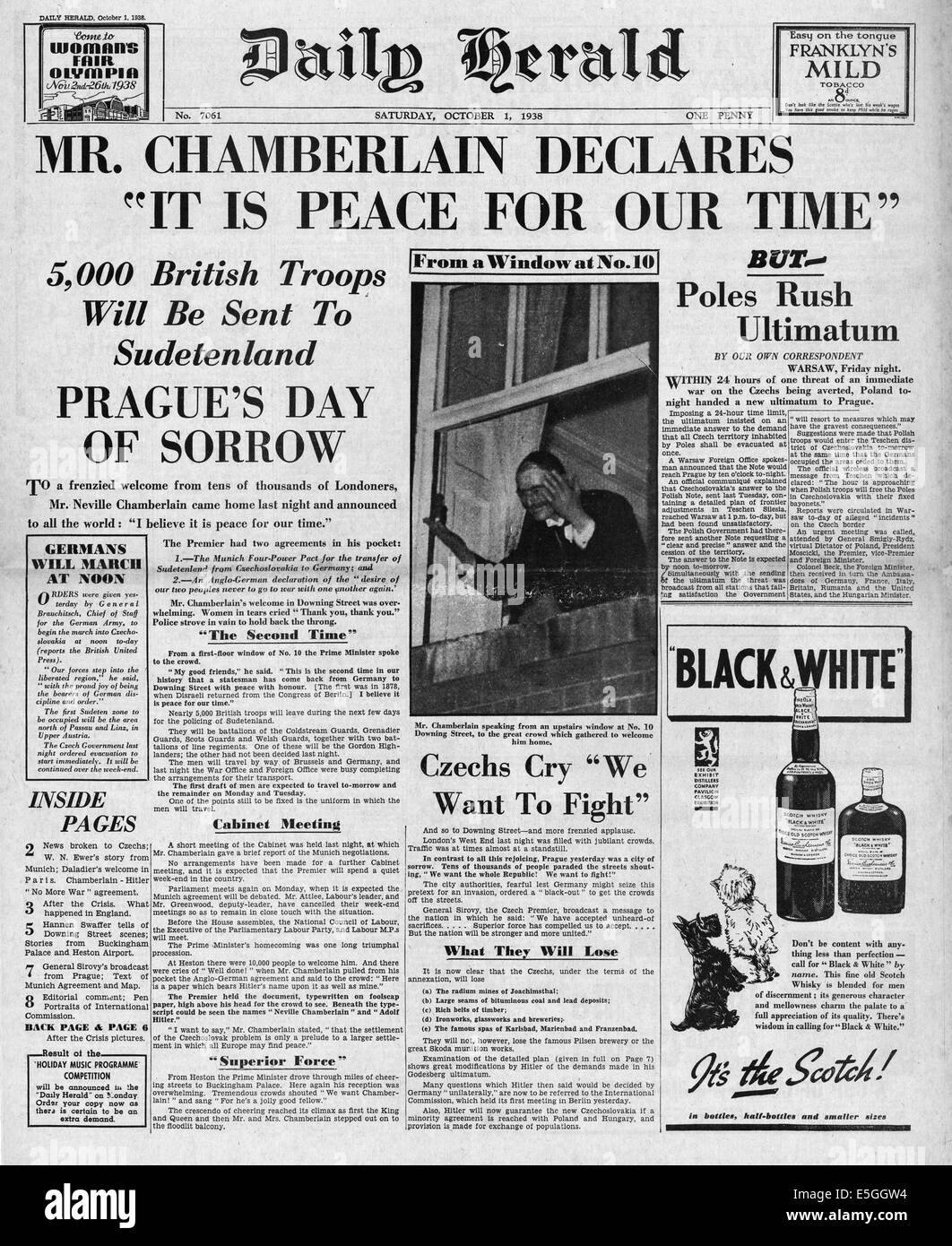 1938 Daily Herald front page reporting the signing of the Munich peace agreement and Chamberlain declares 'It Is Peace For Our Time' Stock Photo