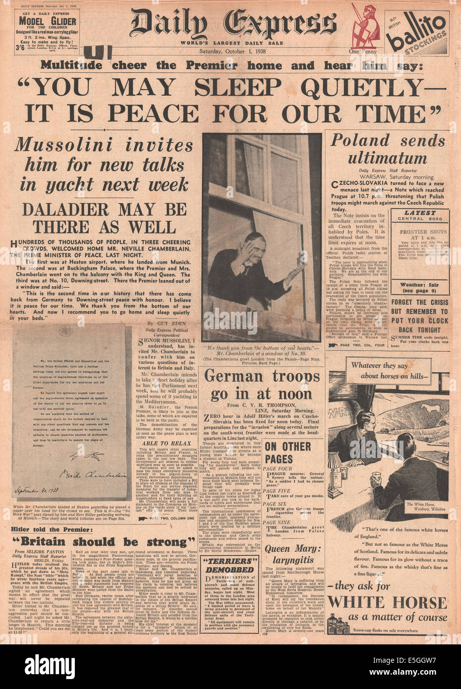 1938 daily express front page reporting the signing of the munich 1938 daily express front page reporting the signing of the munich peace agreement and chamberlain declares it is peace for our time platinumwayz