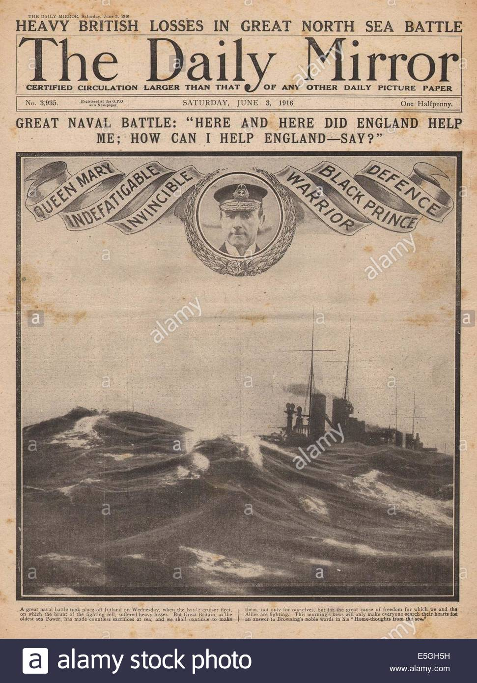 1916 Daily Mirror Front Page Reporting Battle Of Jutland