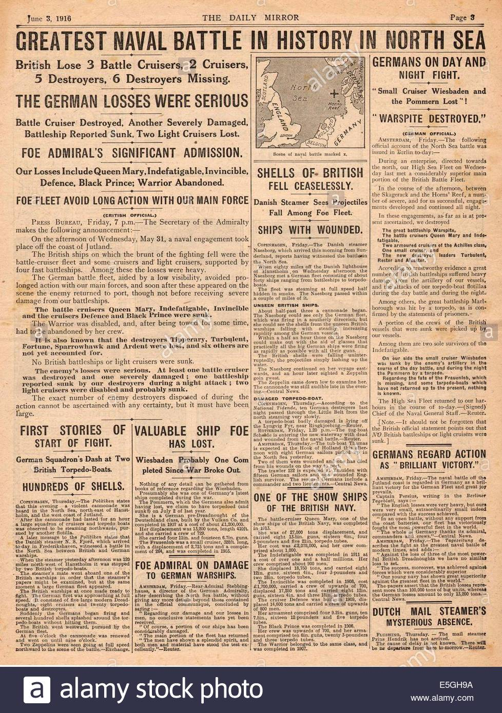 1916 Daily Mirror Page 3 Reporting Battle Of Jutland Stock