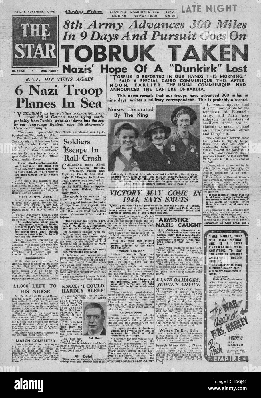 1942 The Star (London) front page reporting British 8th Army capture Tobruk - Stock Image