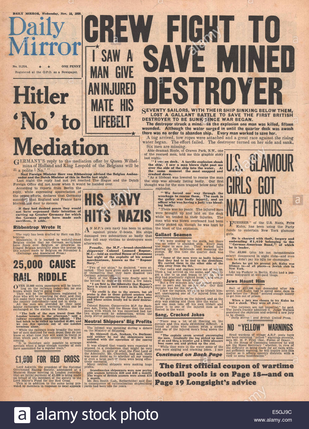 1939 Daily Mirror front page reporting Adolf Hitler rejects