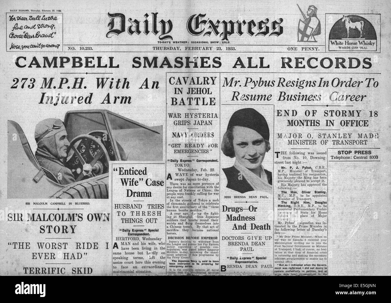 1933 Daily Express front page reporting Sir Malcolm Campbell breaks land speed record in his car Bluebird AT Daytona - Stock Image