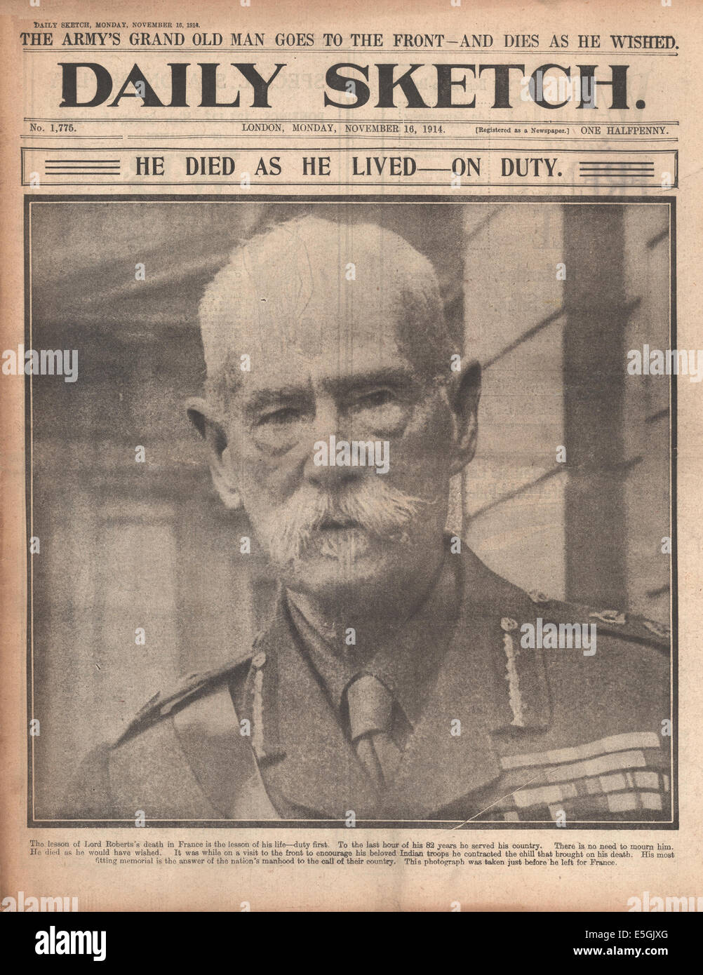 1914 Daily Sketch front page reporting Field Marshal Lord Roberts dies in France - Stock Image