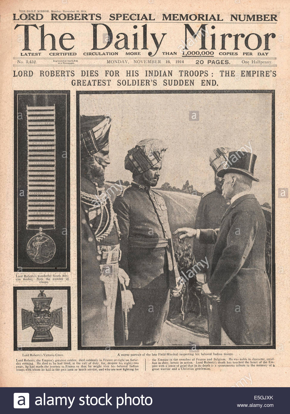 1914 Daily Mirror front page reporting Field Marshal Lord Roberts dies in France - Stock Image