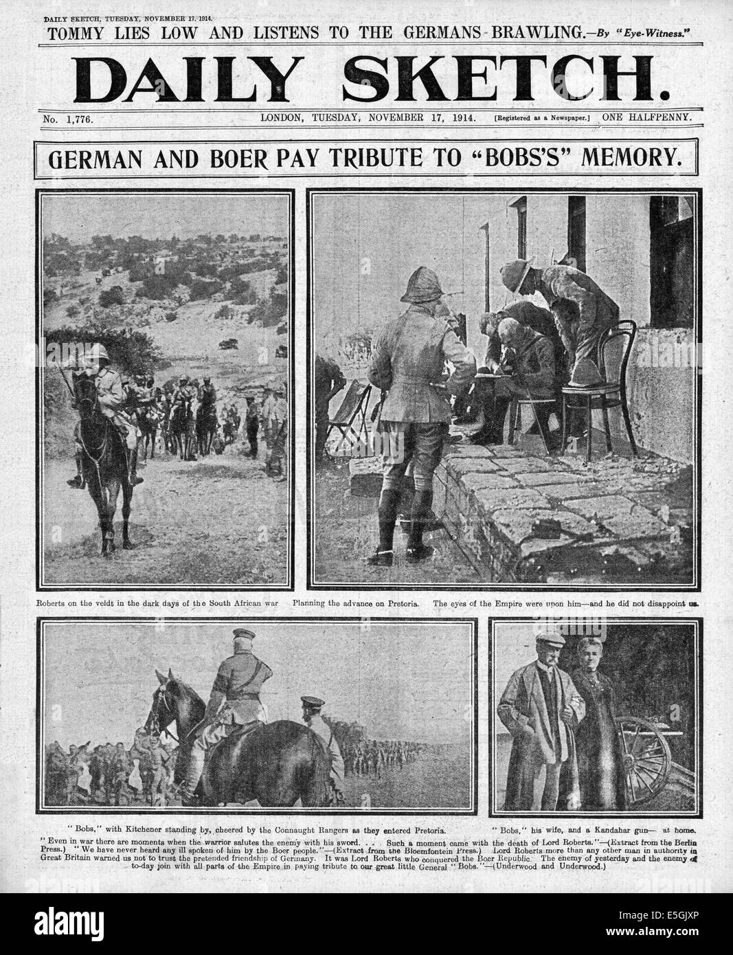 1914 Daily Sketch front page reporting the Boer and German tributes following the death of Field Marshal Lord Roberts - Stock Image
