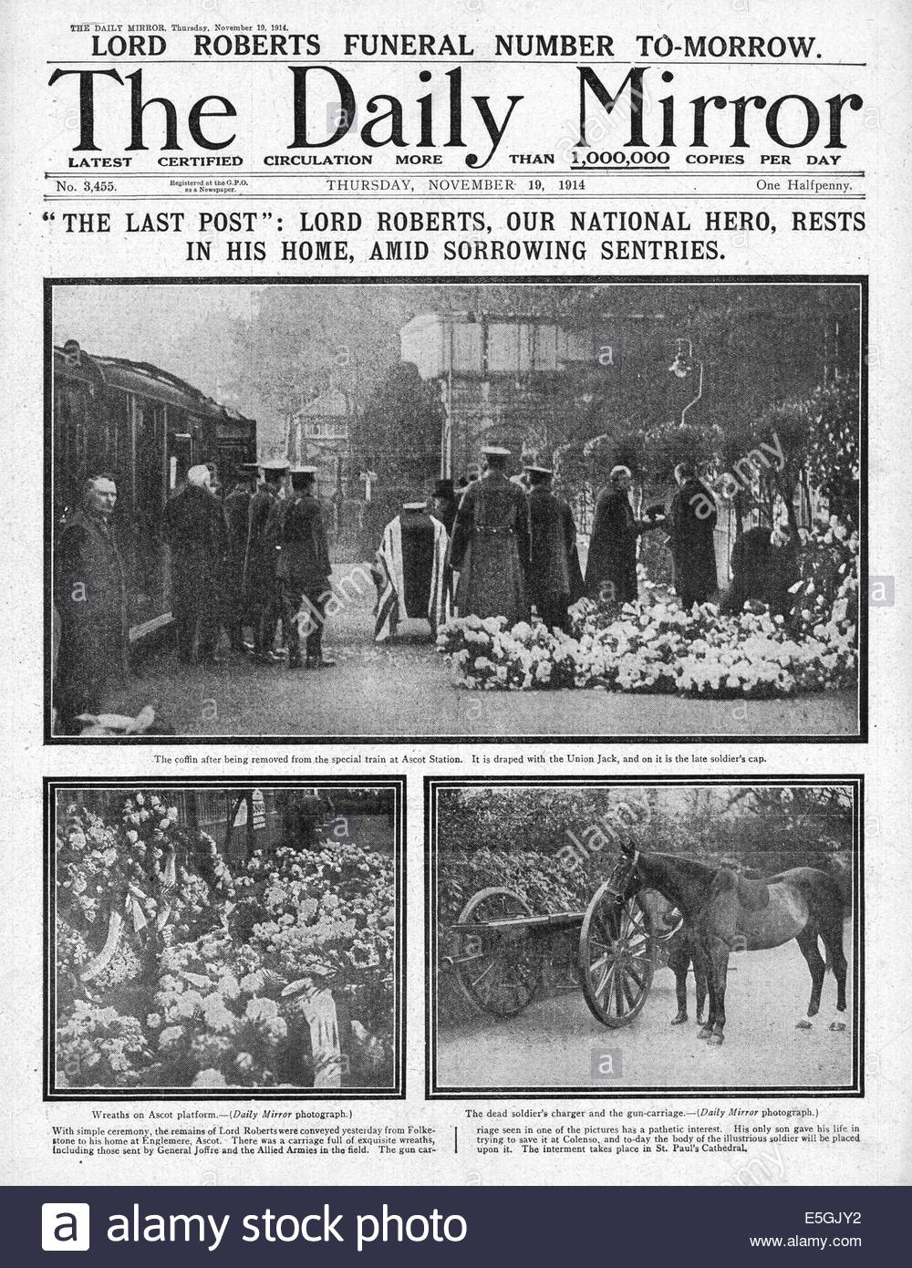 1914 Daily Mirror front page reporting Field Marshal Roberts Lord Roberts coffin arriving at Ascot Station before - Stock Image