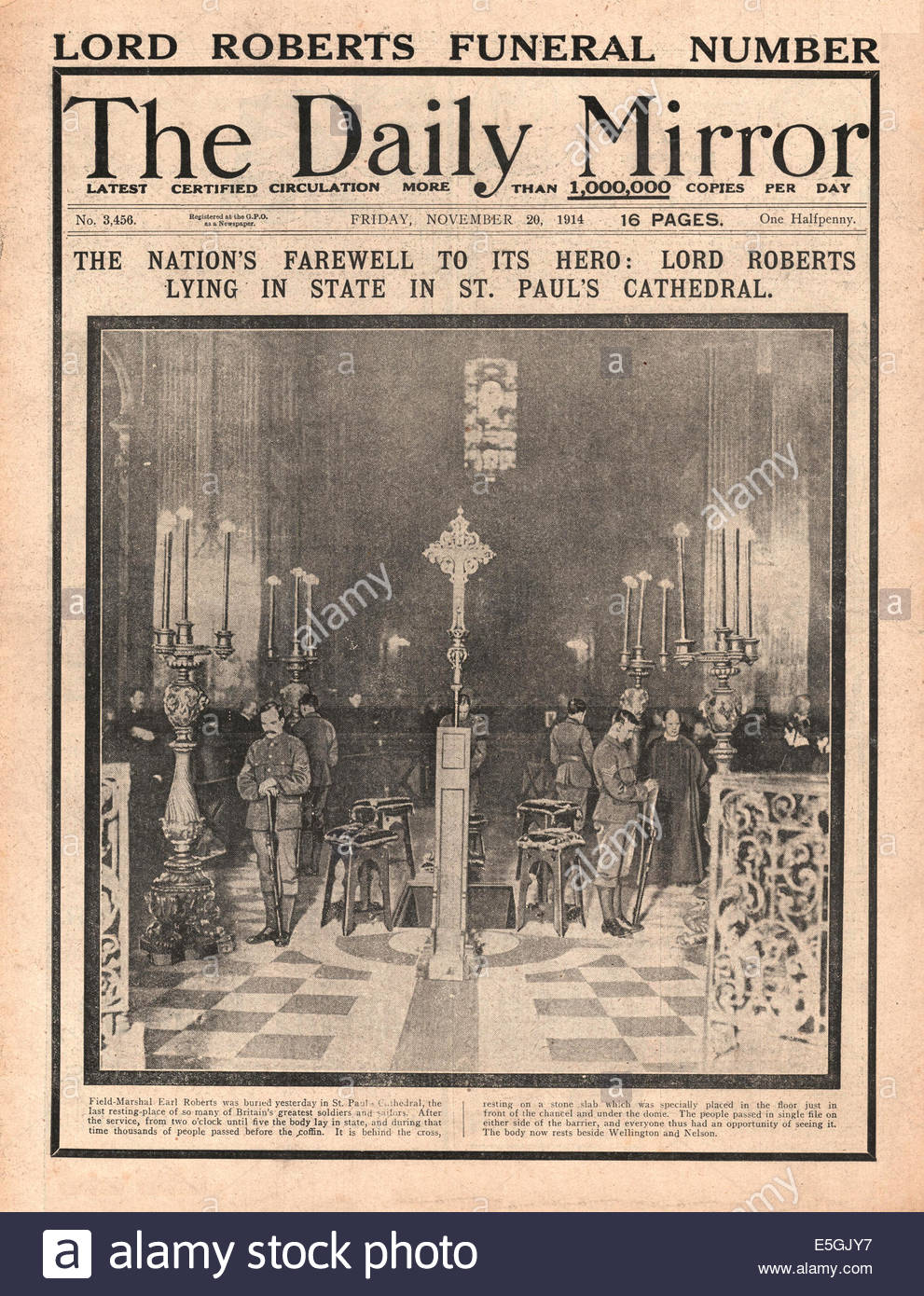 1914 Daily Mirror front page reporting the lying in state of Lord Roberts at St Pauls Cathedral in London - Stock Image