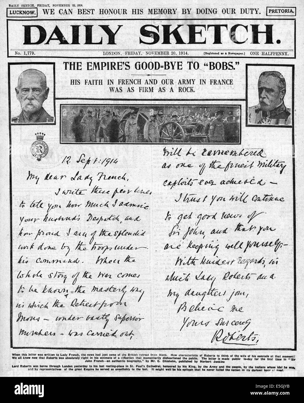 1914 Daily Sketch front page showing a letter from Lord Roberts to Lady French - Stock Image