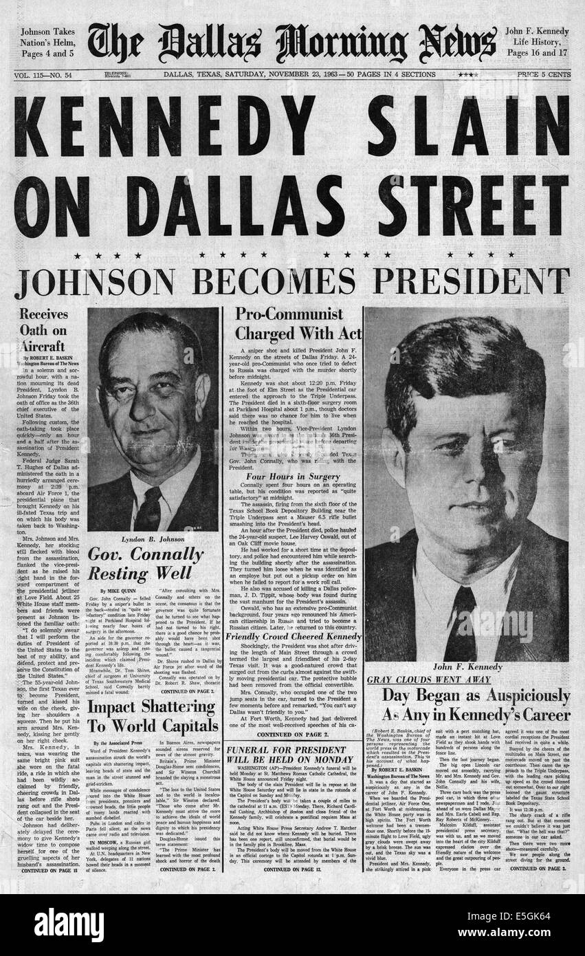 1963 dallas morning news front page reporting the assassination of