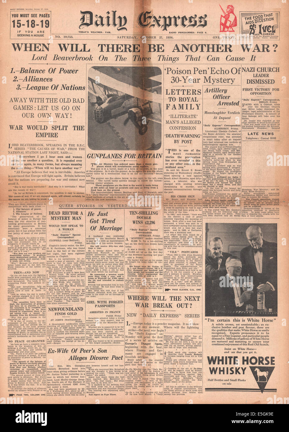 1934 Daily Express front page headline 'When will there be another war'? - Stock Image