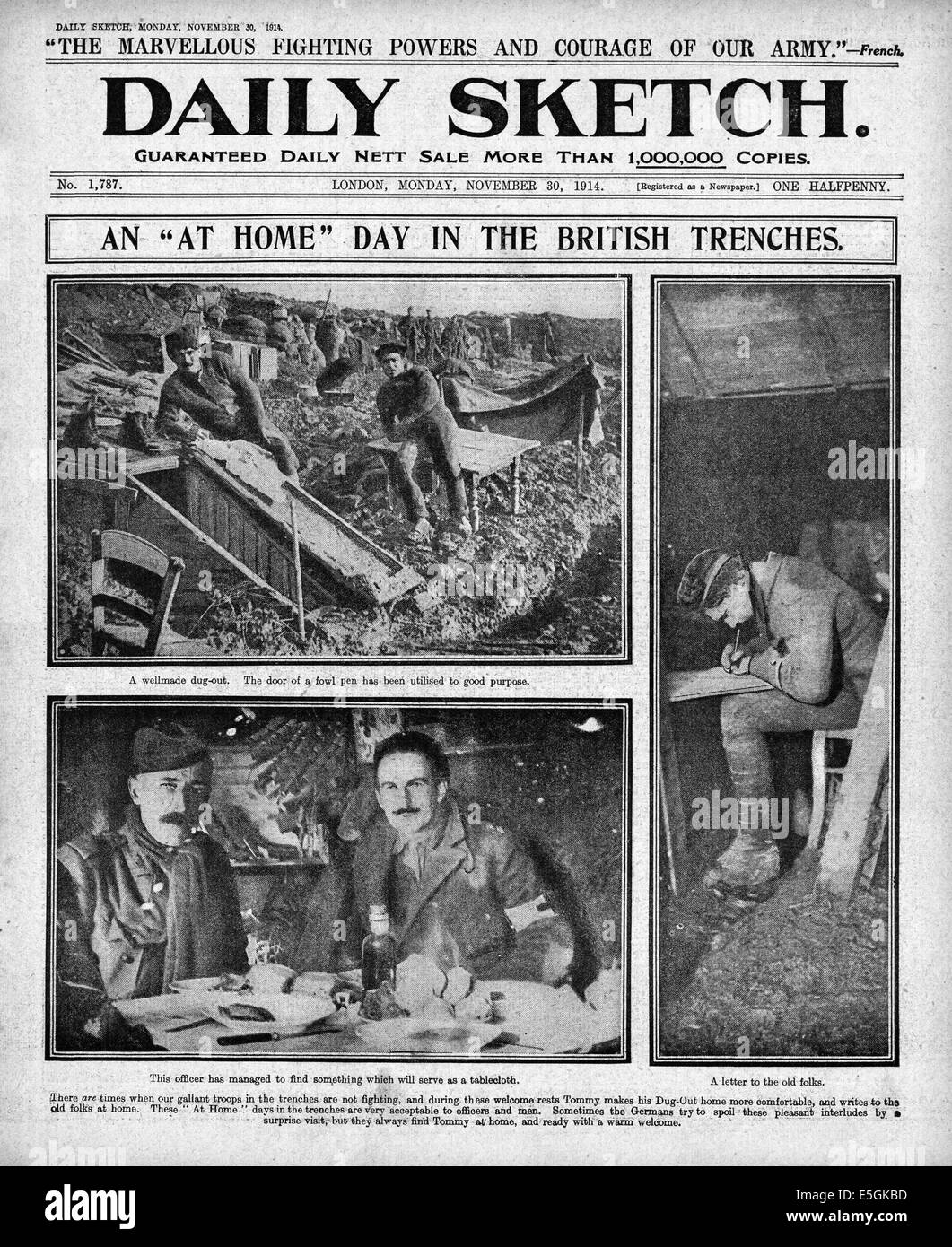 1914 Daily Sketch front page reporting British soldiers in trenches on the Western Front - Stock Image