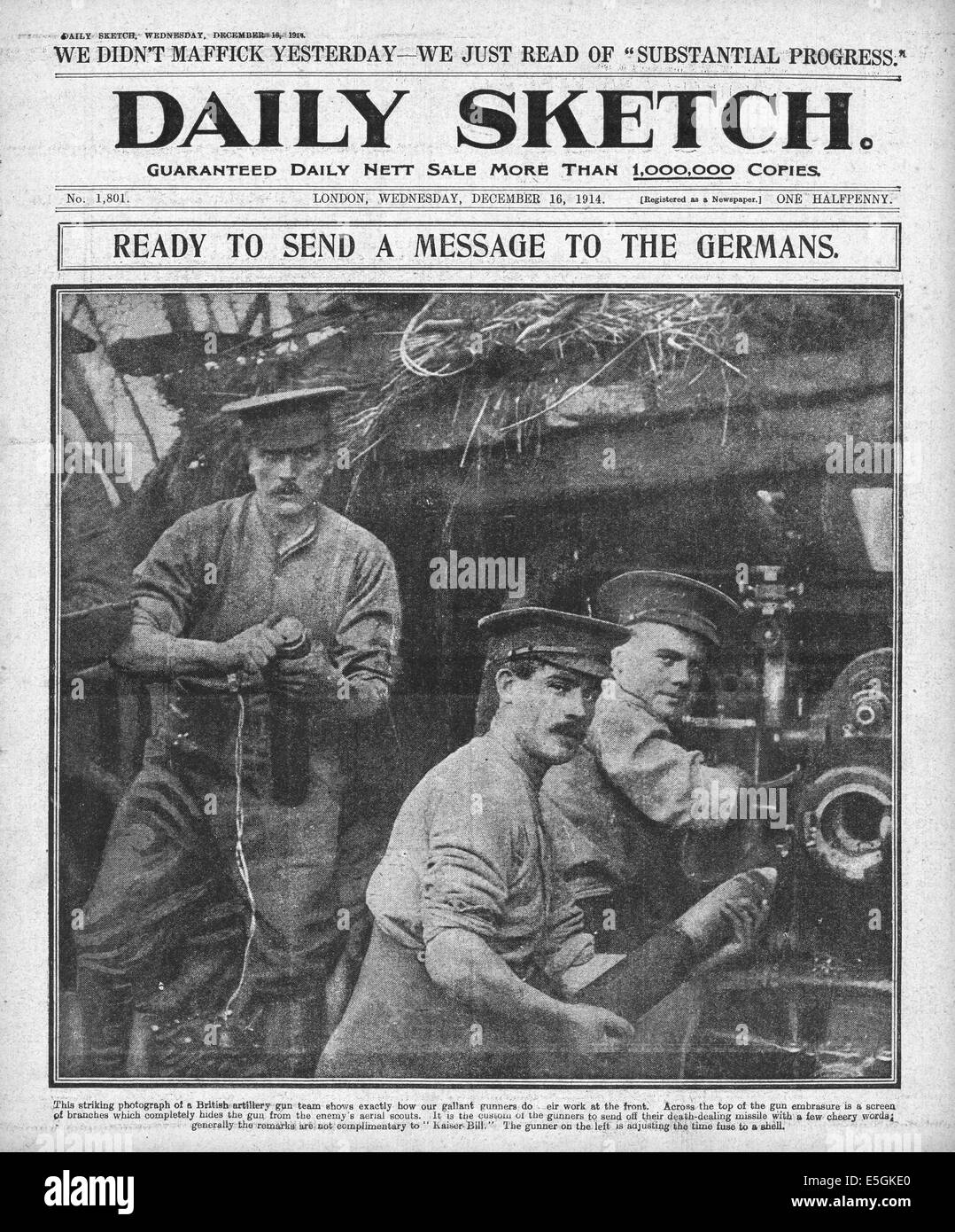 1914 Daily Sketch front page reporting British artillery on the Western Front - Stock Image