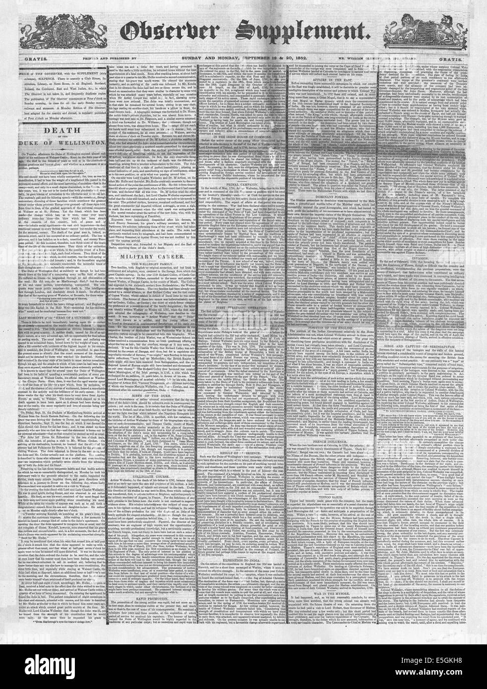 1852 Observer Supplement  front page reporting the death of the Duke of Wellington - Stock Image