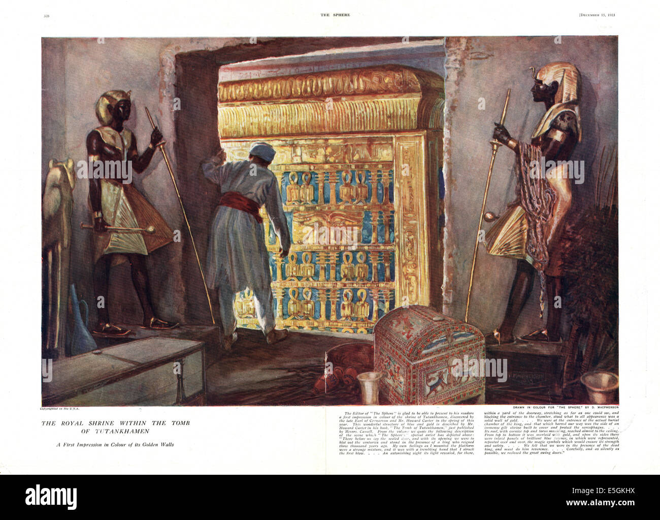 1923 The Sphere magazine illustration of the discovery of Tutenkhamen's tomb in Egypt - Stock Image