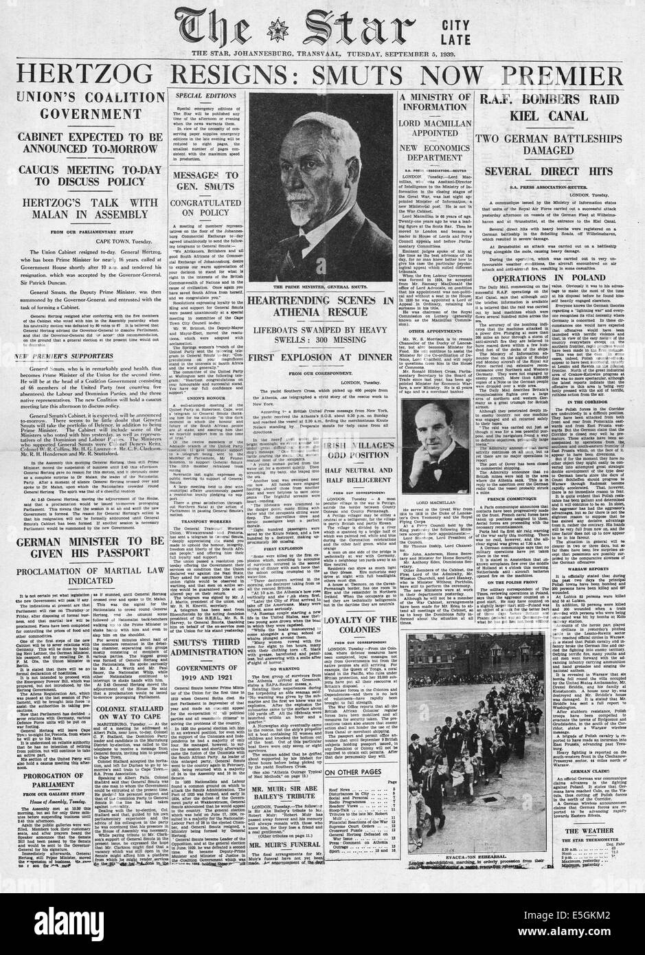 1939 The Star (Johannesburg) front page reporting the resignation of General Hertzog and General Smuts appointed - Stock Image