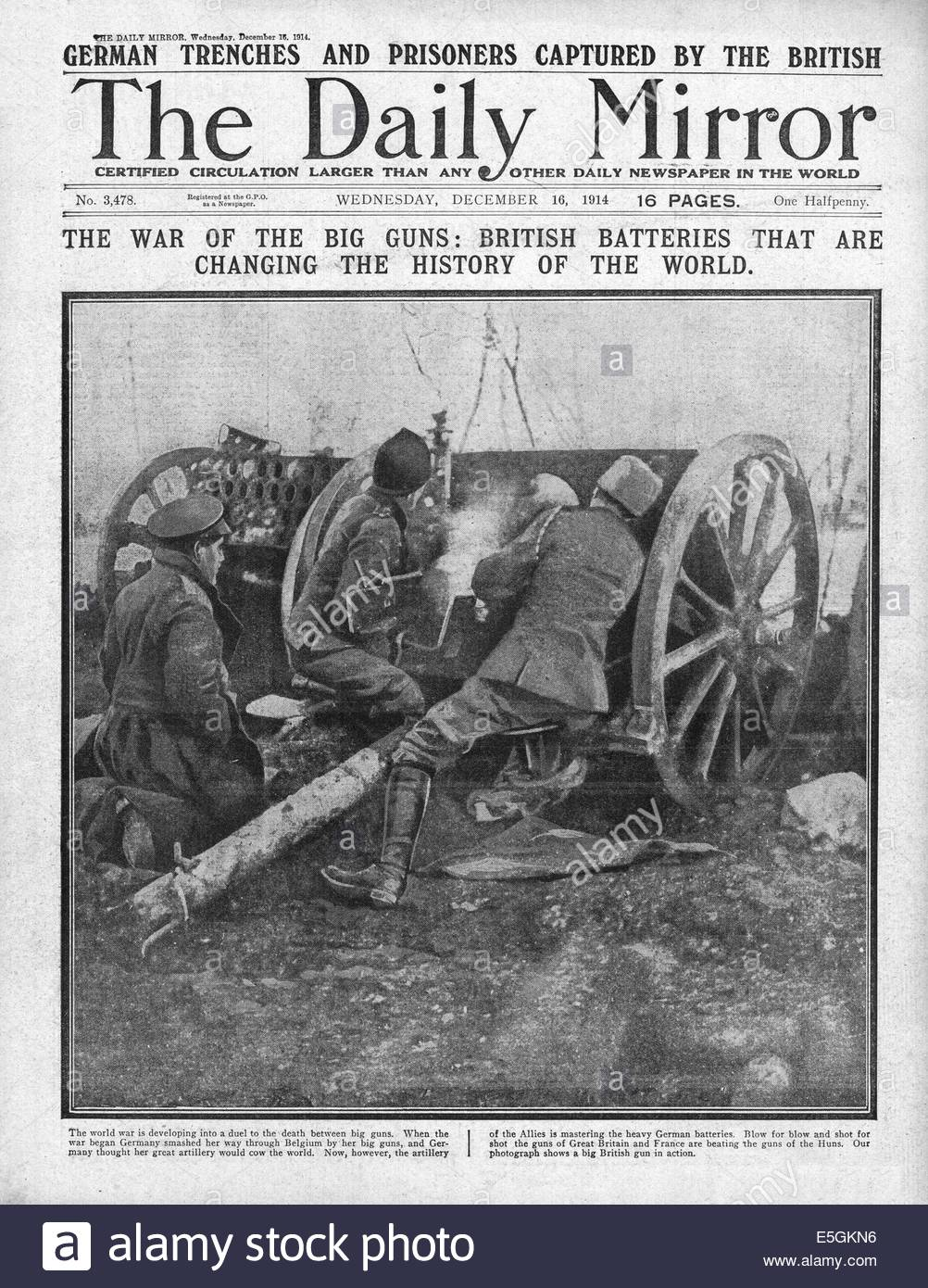 1914 Daily Mirror front page reporting British artillery on the Western Front - Stock Image