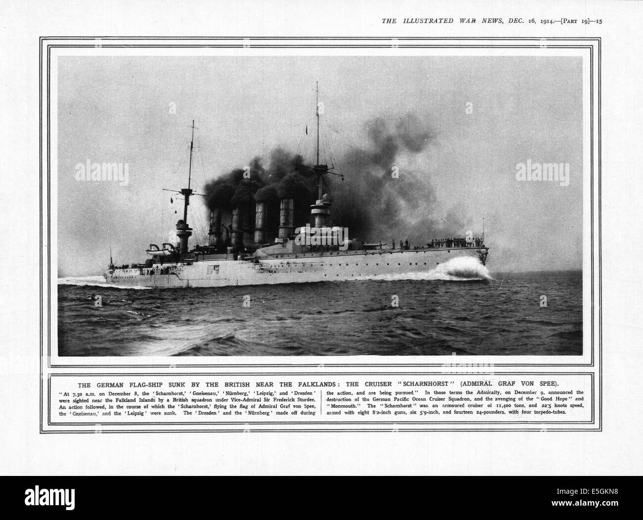 1914 The Illustrated War News pt. 19 (page 15) showing the German battleship Scharnhorst sunk during the Battle - Stock Image