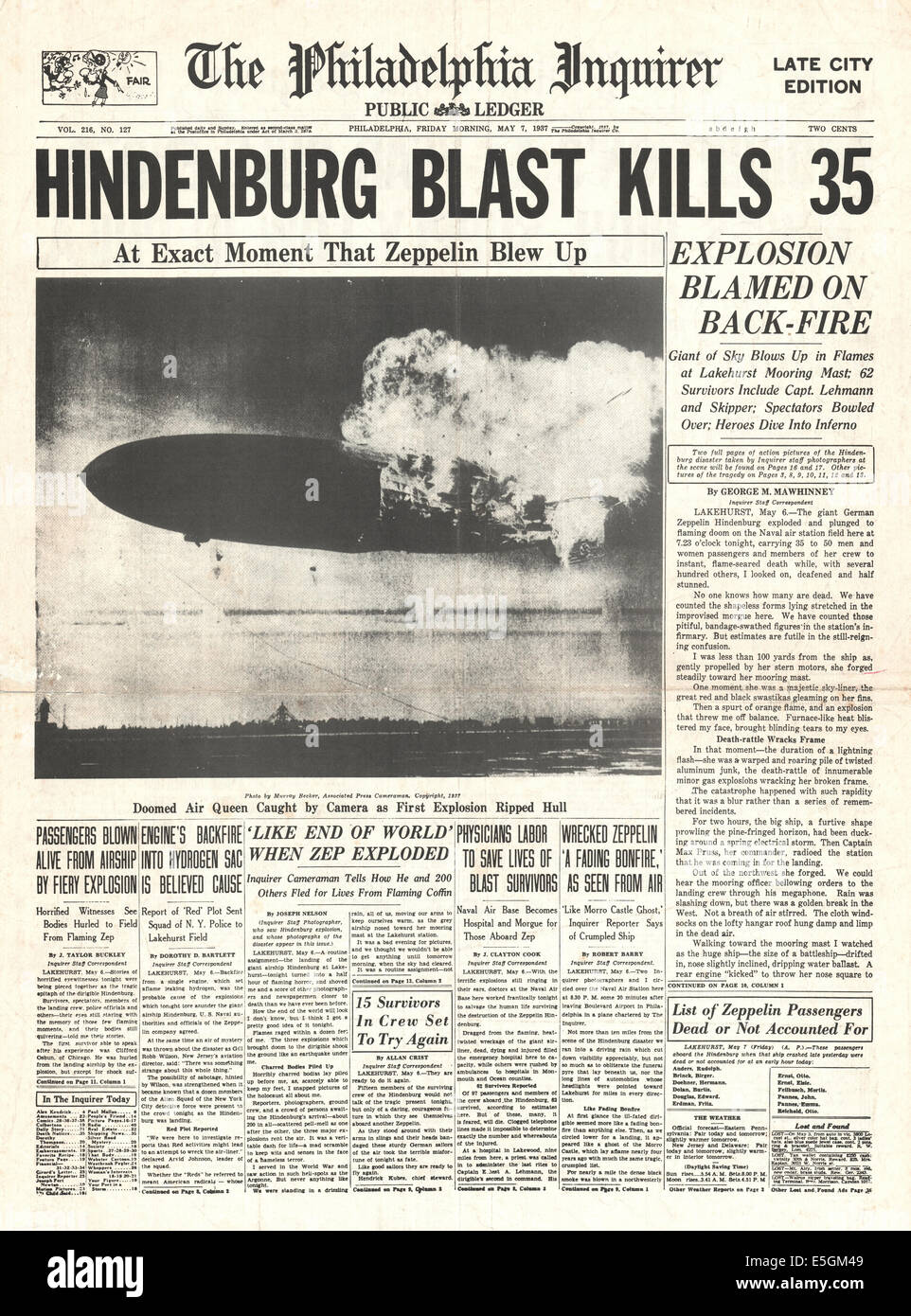1937 Philadelphia Inquirer Usa Front Page Reporting The