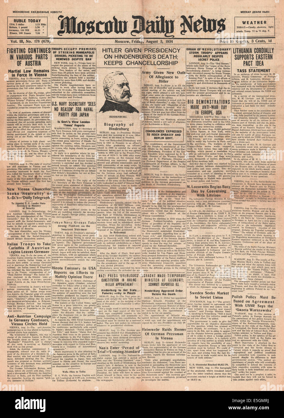 1934 Moscow Daily News Adolf Hitler becomes Chancellor and President of Germany after the death of Paul von Hindenburg Stock Photo